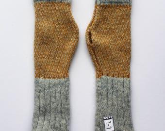 Grey and Mustard Lambswool Fingerless Gloves