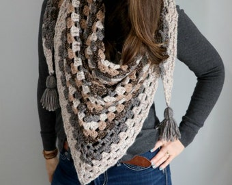 Triangle Scarf Crochet Kit - Triangle Scarf Shawl Crochet Kit - Forest Trail Shawl Crochet Yarn and Pattern Kit  by MJ's Off The Hook Design