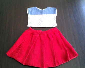 Vintage Handmade Doll Corduroy Skirt and Blouse