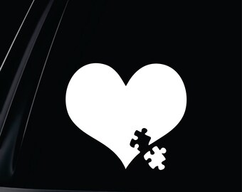 Autism Heart and Puzzle piece Vinyl Decal