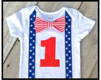 Boys First Birthday Outfit - Patriotic Theme Birthday Boy - Patriotic Baby Boy | America | 4th of July - Red White Blue - Baby Boy Clothes