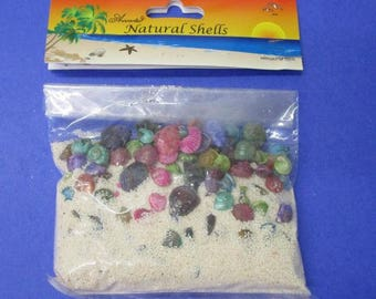 White Bag Of Sand with colored seashells  (EA)