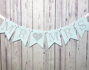 MR & MRS Wedding Banner, Mr and Mrs Sign, Engagement Photo Prop, Bridal Shower Decor, Reception Decoration, Wedding Sign, Wedding Backdrop