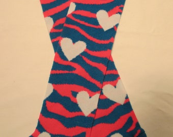 Leg Warmers  / Arm Warmers / Babylegs - Teal Blue and Bright Pink Zebra Stripes with White Hearts and Neon Orange Top - Dees Transformations