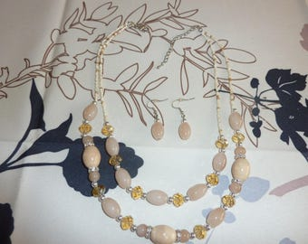 Necklace and earrings ' ear in porcelain and glass
