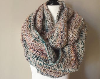 MADE TO ORDER - Hudson Bay Polka Dot Infinity Scarf - Knit Accessory - Oversized Scarf - Knit Scarf