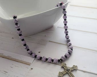 Christian Necklace Jewelry, Bible Jewelry Necklace, Silver Metal Cross, Lavender and Black, Christian Jewelry, Faith Necklace