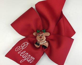 Custom Name, Rudolph Girl, Hair Bow, Christmas Bows, Personalized Holiday, Embroidered Ribbon, Barrette Kids, Grosgrain Bows, Boutique Trend