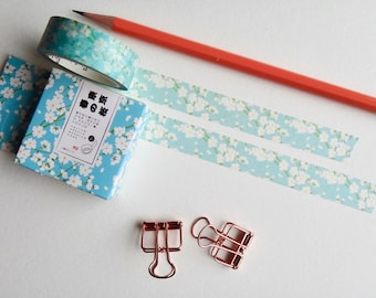 Japanese Washi Cherry Blossom blue white pastel washi tape decoration Journal Scrapbook Hobonichi stationery
