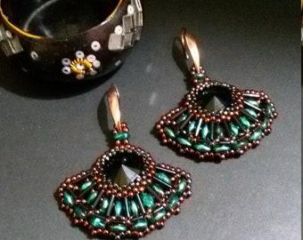 Fan beaded earrings, Crystal earrings, Beaded earrings, Elegant earrings, Embedded rivoli,Women's earrings,Women's gift,Orecchini pendenti,