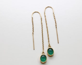 CLEARANCE - Green Onyx Ear Threads in 14K Yellow Gold Plating Ready to Ship