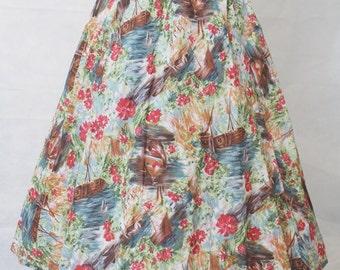 Watercolour Novelty Boat Print Skirt