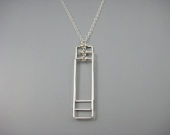 Rectangle Necklace - geometric necklace on delicate sterling silver chain, architecture jewelry, modern minimalist - Cascading Rectangle