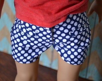 18 inch Doll Clothes - Navy Polka Dots Shorts - Americana Collection - NAVY BLUE WHITE - fits American Girl