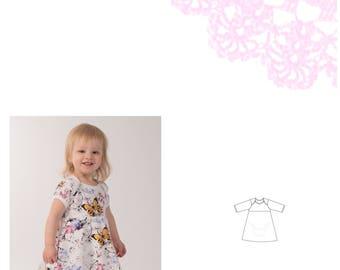 PDF- mönster Bodyklänning med kuvertringing stl 50-92. Onesie dress sizes newborn - 2T