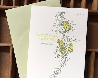 letterpress season's greetings larch card