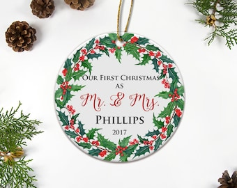 Mr & Mrs Ceramic Ornament, Our First Christmas Gift Newlywed Ornament Christmas Gift For Wife Custom Ornament Wedding Gifts Home Decoration