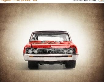 FLASH SALE til MIDNIGHT Vintage Red Nova Front End, One Photo Print, Boys Room decor, Vintage Car Prints
