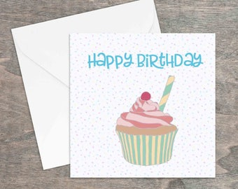 Happy birthday cupcake printed card