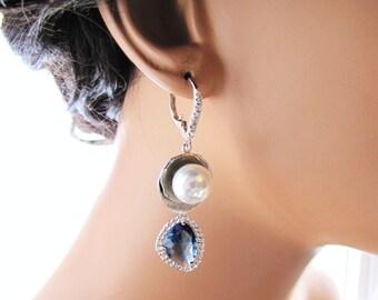 Blue bridal earrings, long dangle drop earrings with south sea shell pearl and Montana blue stone