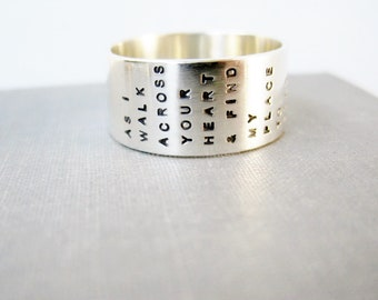 Pet Memorial Ring - Extra Wide, Solid Sterling, Personalized, Poem Ring