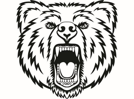 Grizzly Bear 9 Head Face Animal Growling Mascot SVG EPS