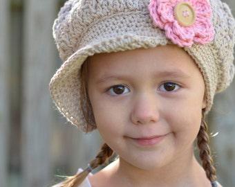 Crochet Hat, Crochet  Newsboy Hat for Girls, Toddler Girl Hat, Little Girl Newsboy Cap, Crochet Hat for Girl, Girls Hat, Hats for Girls