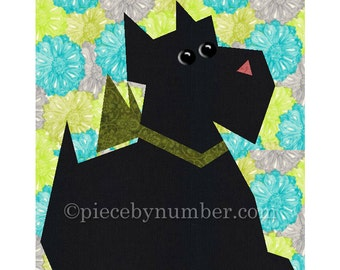 Scottie Dog quilt block pattern, paper pieced quilt patterns, instant download PDF pattern, terrier quilt pattern, animal decor
