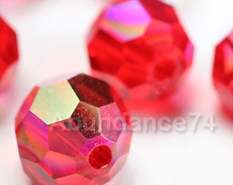 6 pcs Swarovski Elements - Swarovski Crystal Beads 5000 10mm Round Ball Beads - Light Siam AB