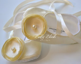 Ivory Satin Baby Shoes Soft Ballerina Slipper