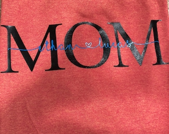 Mom shirt with kids names in the middle