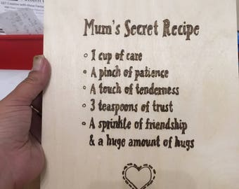 Mums secret recipe on a4 ply in pyrography hand drawn
