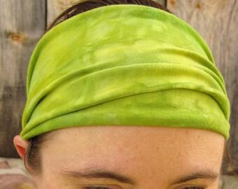 Yoga Headband, Tie Dye Headband, Green and Yellow Headband, Organic Cotton Headband, Scrunch Headband, Tie Dye Hair Wrap
