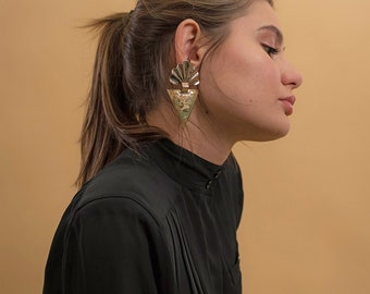 Vintage Geometric Statement Earrings / Avant-Garde Earrings / Vintage 80s Earrings / Costume Jewelry / Vintage Jewelry