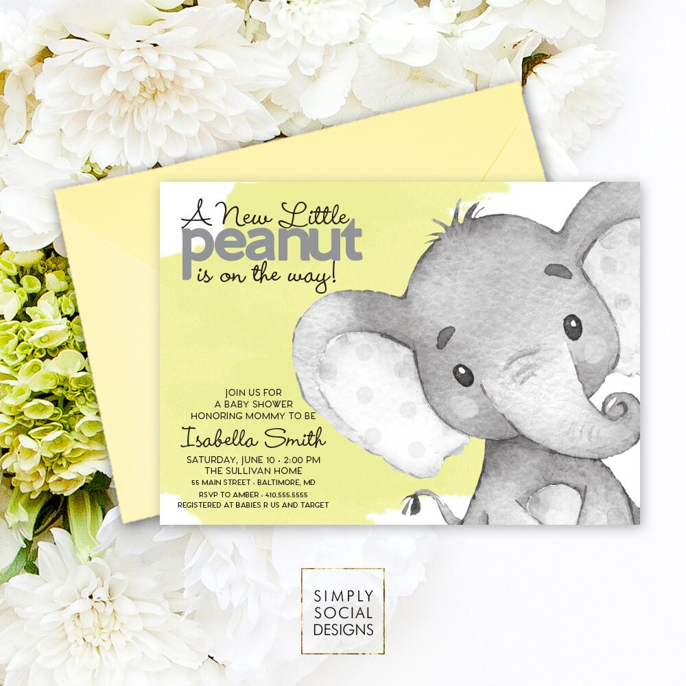 Elephant Baby Shower Invitation Gender Neutral Watercolor Elephant