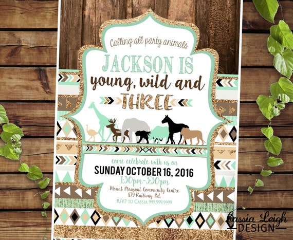 Zoo young wild and three 3rd birthday invitations mint brown filmwisefo Images