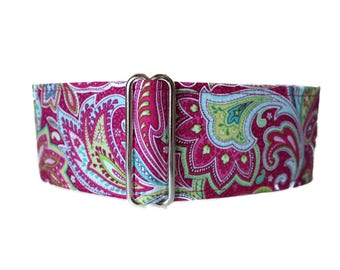 Martingale Dog Collar, Pink Paisley Martingale Collar, Paisley Dog Collar, Martingale Dog Collar Greyhound, Sighthound Collar