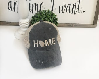 Wisconsin Home hat, womens hat, grey hat, home trucker hat, embroidered home hat, mothers day gift, gift for mom, baseball cap wisconsin hat