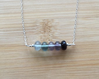 Rainbow Fluorite Bar Necklace, Sterling Silver Gemstone Choker, Ombre Fluorite Necklace, Silver Choker, Layering Necklace, Fluorite Necklace