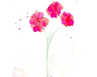 "Watercolor flowers, original painting: ""Springing Up"""