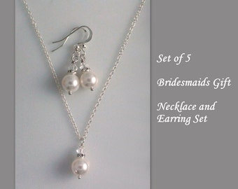 Bridesmaid Jewelry Set of 5 ,  Bridesmaid Gift, Set of 5 Bridesmaid Jewelry Set, Bridal Party Jewelry, Bridesmaid Necklace Set of 5