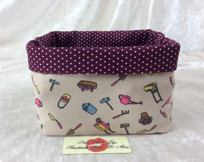 Handmade Fabric Basket Storage Bin short Gardening Tools