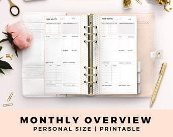 Personal Size Printable Planner Inserts, Monthly Overview, Monthly Planner, Month on One Page, Blush and Gold Productive Planner Pages