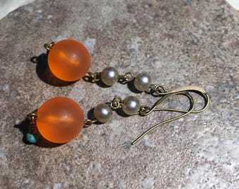 Earrings vintage orange lucite beads with vintage pearl chain teardrop