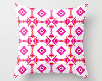 Pink Pattern, Pillow Cover, 16x16, 18x18, 20x20,home decoration, interior design,colorful,kids decor,Modern Living,Mosaic,Contemporary Decor
