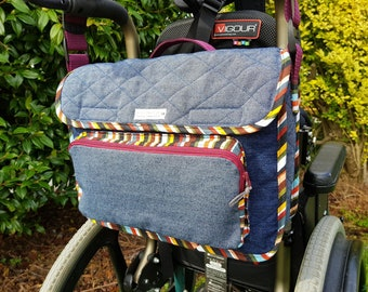 Wheelchair bag, Wheelchair tote, Podd communication book, Denim bag, Messenger bag, Upcycling, Recycling, Please read