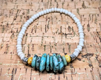 Turquoise Beaded Bracelet -- Stretchy Adjustable Bracelet with Polished Turquoise Beads, Silver Plate Spacers, and Glass Beads