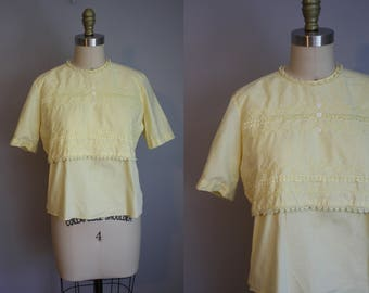 1950s Blouse // Embroidered Canary Yellow // Medium