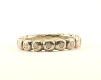 Authentic Pandora Thin Bubble Moonstone Stacking Ring 925 Sterling RG 2470-E