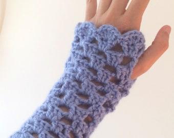 Cornflower Blue Fingerless Gloves
